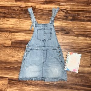 Light wash denim overall dress